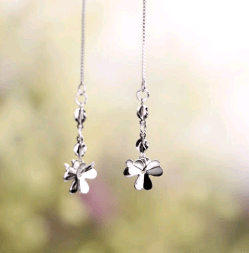 925 sterling silver earrings earrings women's long tassel simple four-leaf clover earrings - Urunigi.com