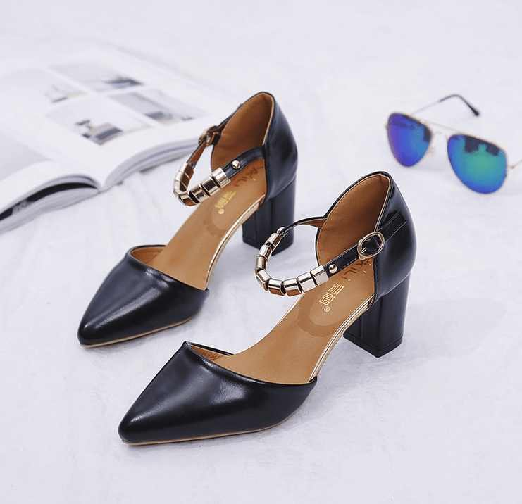 One-button buckle with solid color high heels - Urunigi.com