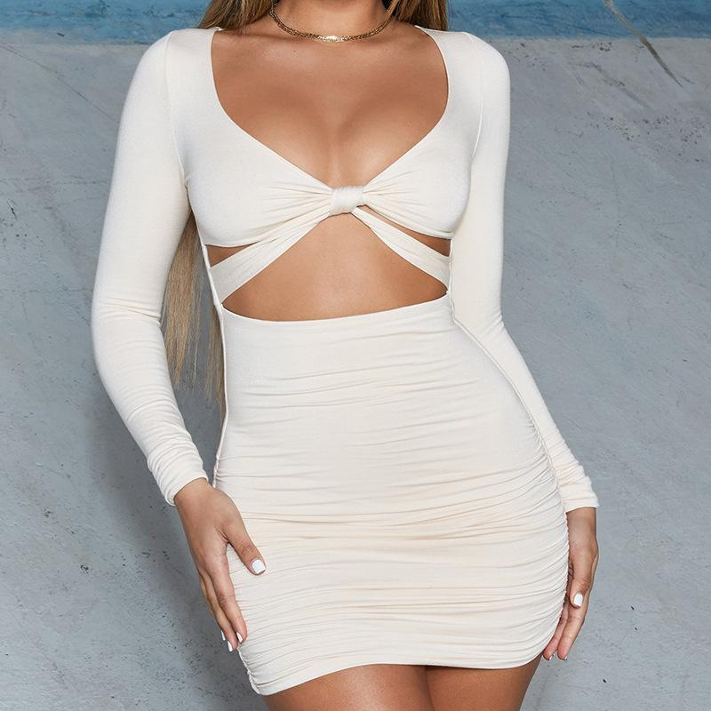 Long sleeved umbilical fold mini dress - Urunigi.com