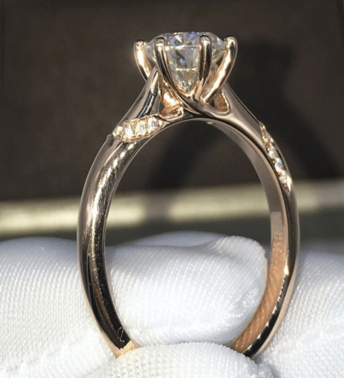 Electroplating color gold rose gold adjustable female models simulation single drill six claw small diamond ring 50 points - Urunigi.com