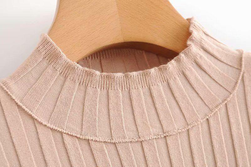 2020 spring round neck short-sleeved single-breasted elastic waist tight-fitting solid color knit dress short skirt women's dress - Urunigi.com