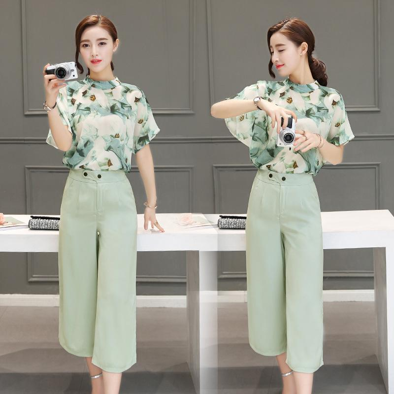 Summer wear, two piece trousers, Korean version, chiffon short sleeved blouse, wide leg pants, casual fashion suit girl. - Urunigi.com