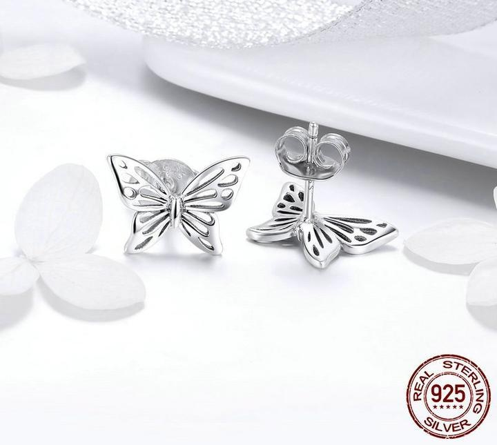 Europe and the United States 925 sterling silver female earrings hypoallergenic butterfly dream simple personality fashion earrings - Urunigi.com