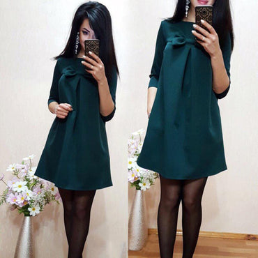 Sweet bow design in sleeved solid color dress - Urunigi.com