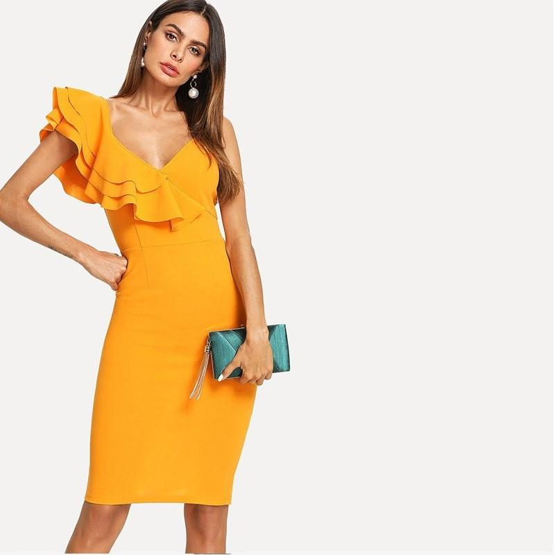 Sleeveless Ruffle Layered Flounce Trim Split Back V Neck Party Bodycon Dress Women Summer Knee Length Slim Pencil Dress - Urunigi.com