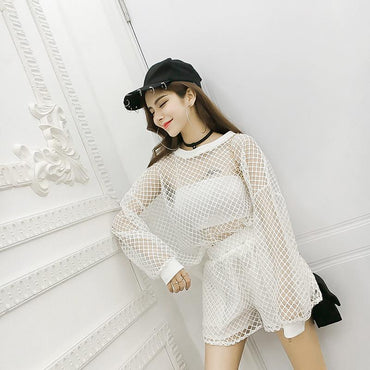 Casual temperament mesh hollow loose perspective T-shirt + hollow shorts suit - Urunigi.com