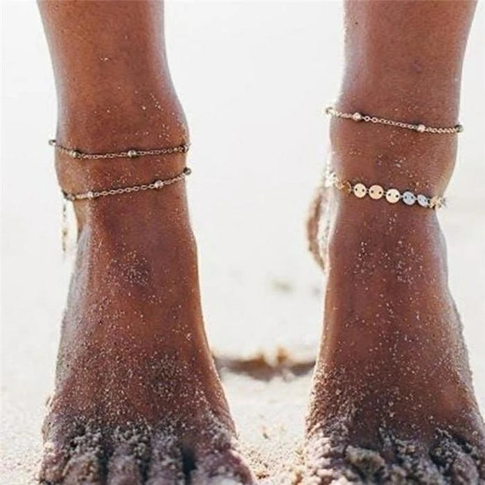 Copper sequin anklet