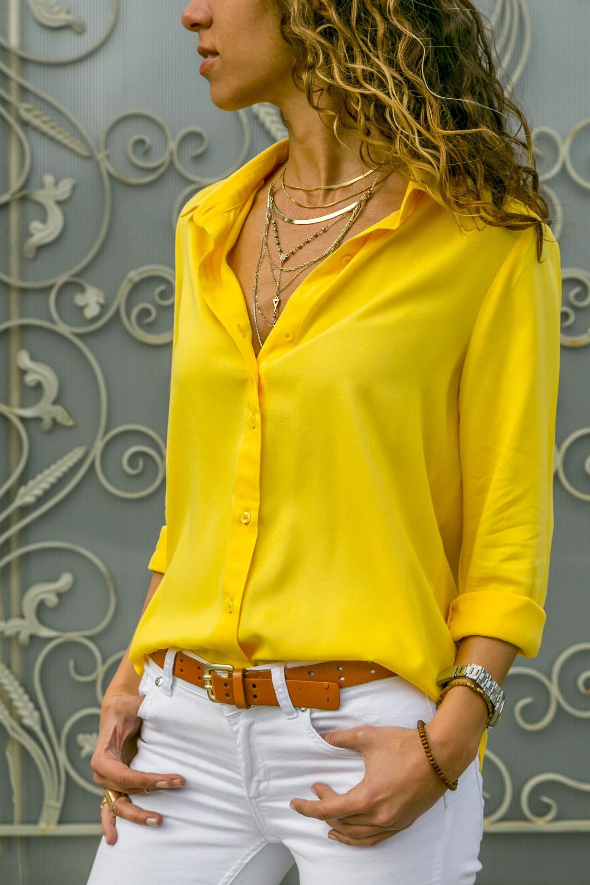 Long sleeve ladies lapel button shirt