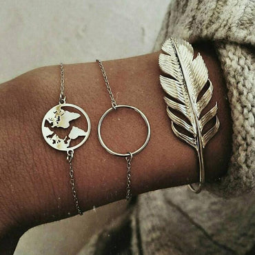 European and American cross-border jewelry New geometric smooth circle round map leaf bracelet bracelet three-piece