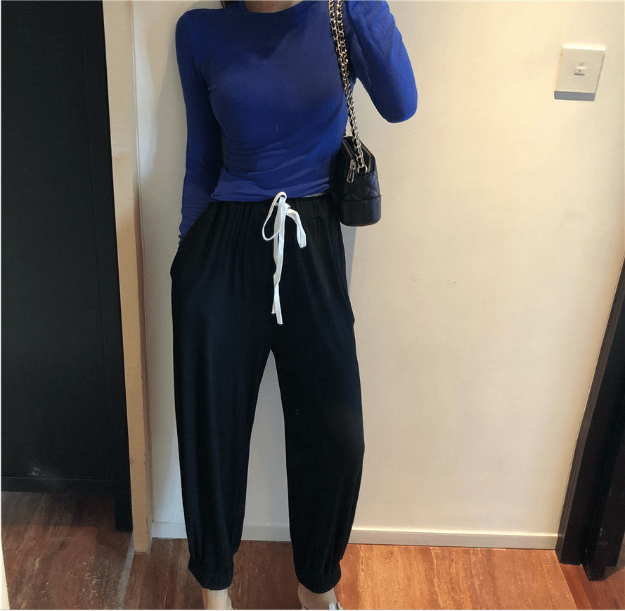 Bottoming shirt + loose high waist nine pants two sets - Urunigi.com