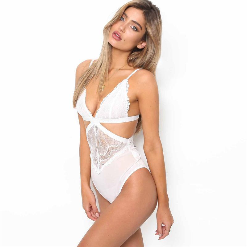 Bodysuit mesh see-through sling - Urunigi.com