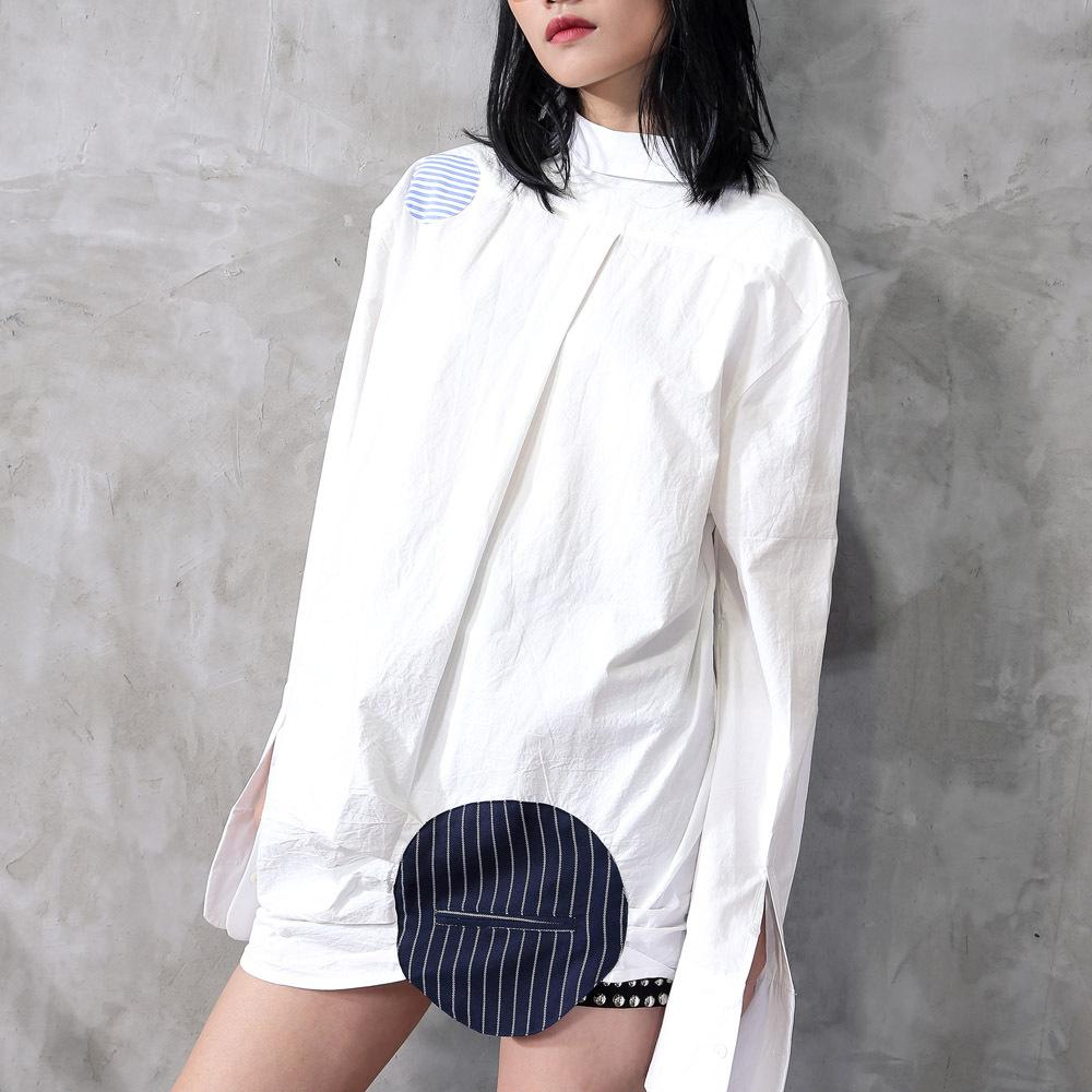 2020S/S small crowd high-end customized front and rear two-piece spliced striped shirt dress QD603 - Urunigi.com