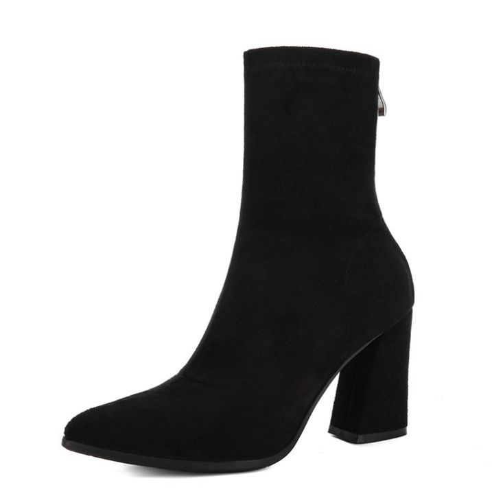 Mid-boots women's thick with autumn and winter 2020 new Europe and America wild high heels single boots stretch matte boots Martin boots - Urunigi.com