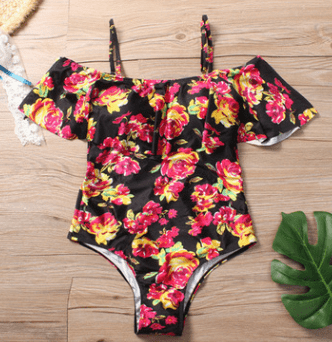 2020 Europe and the United States a new fashion word shoulder lotus leaf Siamese multi-colored green leaf swimsuit bikini - Urunigi.com