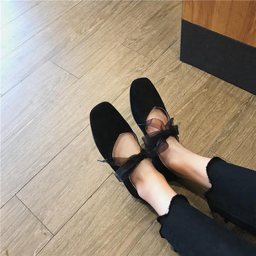 Summer women 2020 spring new style square head granny shoes retro ribbon bow ballet flat shoes - Urunigi.com