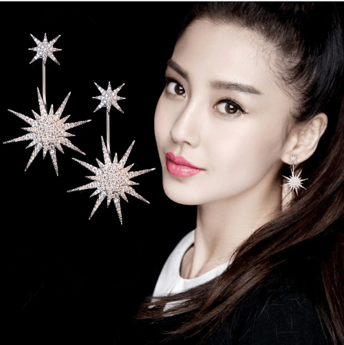 Oversized Snowflake Star Stud Earrings - Urunigi.com