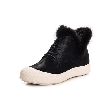 Winter flat shoes lace-up Martin boots lady black boots