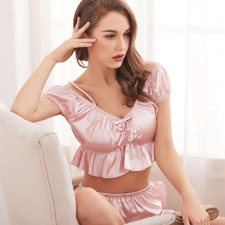 Silk sexy pajamas suspenders for women - Urunigi.com