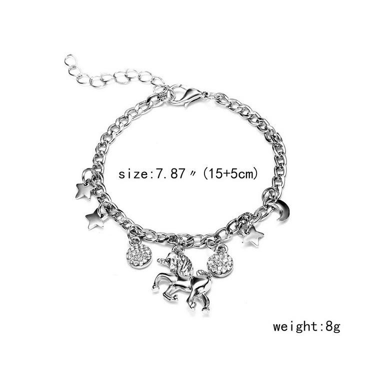 Trendy Alloy Silver Gold Color Unicorn Charms Bracelet With Moon Star Charms Cute Anime Bracelet For Woman Girls Gift - Urunigi.com