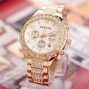 Geneva diamond calendar watch women fashion watch business casual ladies quartz tide watch fake three-eyed watch