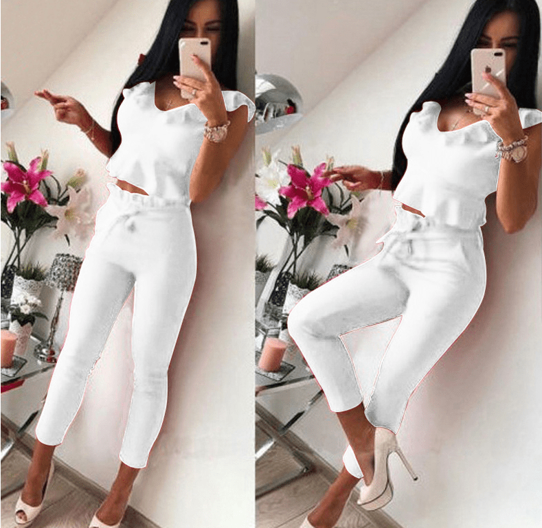 Ruffled Sleeveless Tops Solid Color Pants Two-piece Women - Urunigi.com
