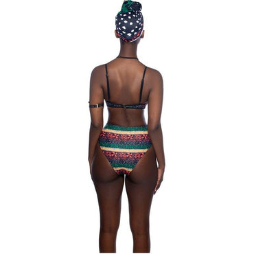 African black printed split swimsuit - Urunigi.com