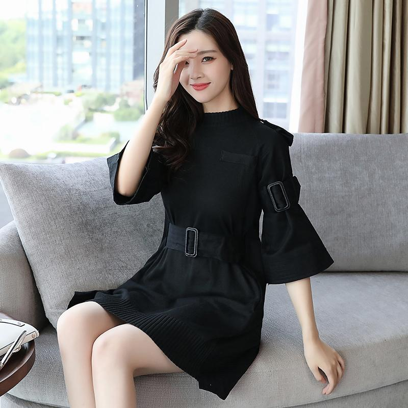 Patchwork Knitting Dress For Women With Sashes High Waist Flare Sleeve - Urunigi.com