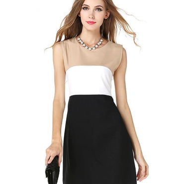 USA SIZE European and American three-color stitching sleeveless vest dress - Urunigi.com