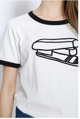 Stapler embroidered T-shirt