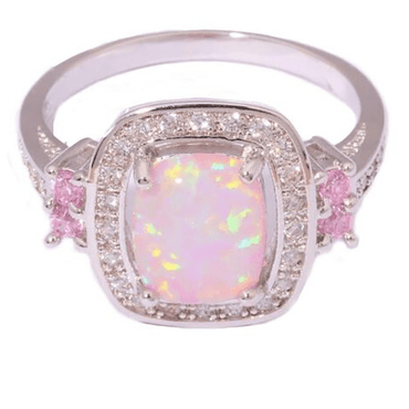 Austrian Crystal Rose Opal Ring Fashion Jewelry Wholesale New Luxury Women Gift Silver Color Big Square Opal Fire Rings - Urunigi.com