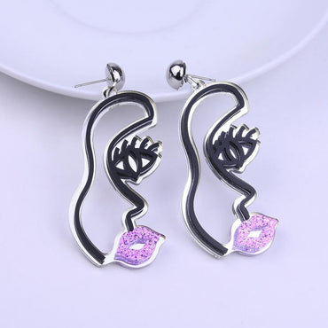 Face earrings Korean personality wild earrings - Urunigi.com