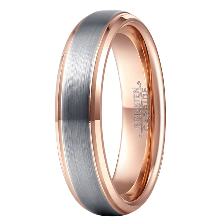 Fine Brushed Rose Gold Tungsten Ring - Urunigi.com