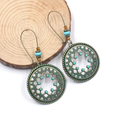 Hanqi jewelry retro fashion palace style creative ladies accessories set rice beads flower alloy earrings earrings - Urunigi.com