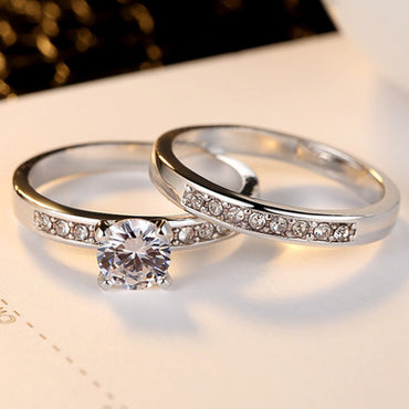 European and American Jewelry Set Rings Fashion Four-jawed Zircon Set Rings