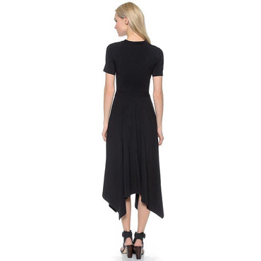 Fashion Trends Waist Cutout Cross Pleated Paneled Short Sleeve Dress - Urunigi.com