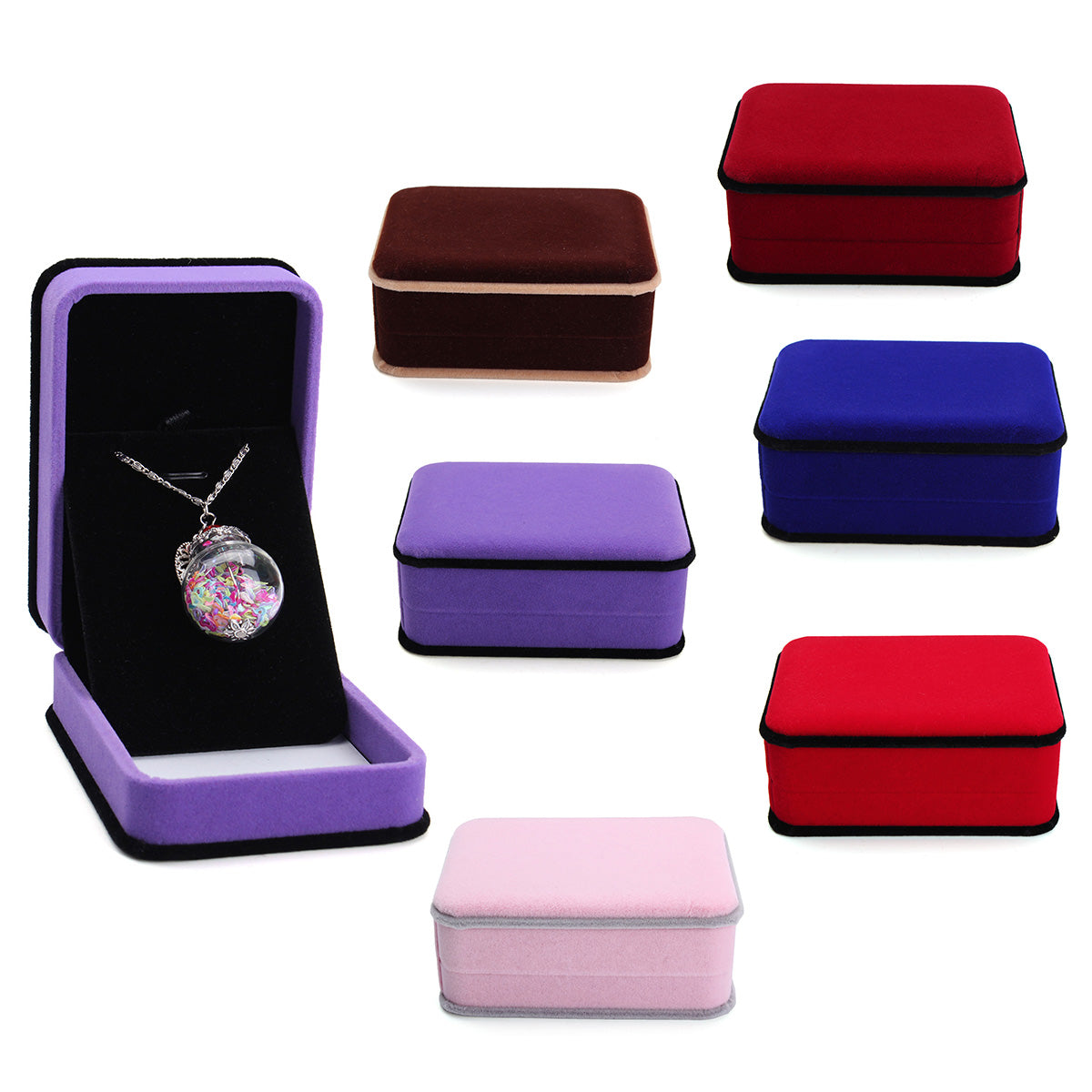 Flocking Octagonal Necklace Earrings Jewelry Packaging Gift Box