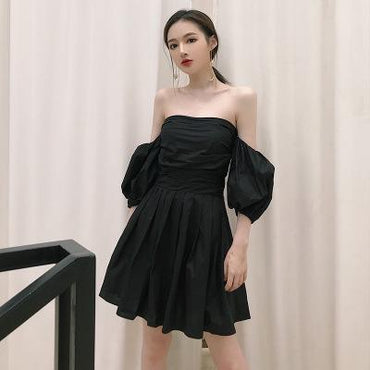 Retro word collar tube top lantern sleeves bow tie tube top dress skirt female - Urunigi.com