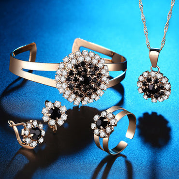 Flower ring necklace earrings bracelet four-piece set