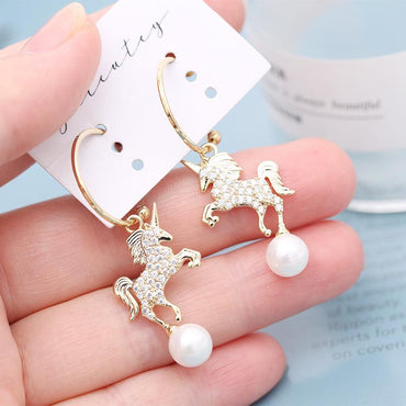 Pony earrings female s925 silver stitch - Urunigi.com