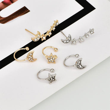 European and American style personality fashion new women's full diamond star moon ear clip - Urunigi.com