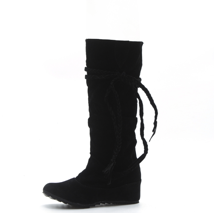 Large size boots spot tassel boots increase in Europe and the United States round head high boots women's boots - Urunigi.com