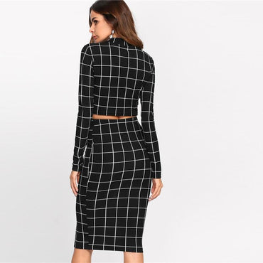 Stand Collar Long Sleeve 2 Piece Set Women Crop Grid Top & Pencil Skirt Co-Ord Ladies Elegant OL Style Twopiece - Urunigi.com