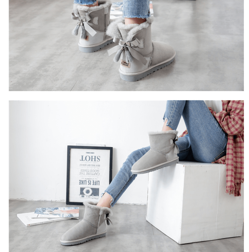 New snow boots female Australian wool fur one short boots warm non-slip shoes - Urunigi.com