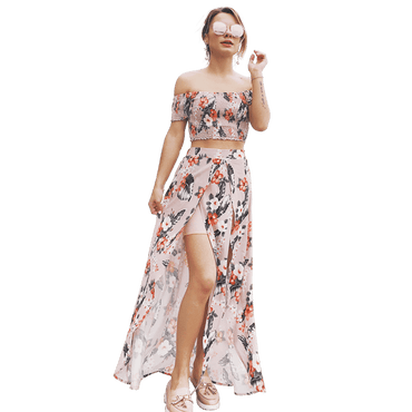 USA SIZE Fashion casual two-piece suit one-shoulder short-sleeved printed split chiffon bohemian dress - Urunigi.com