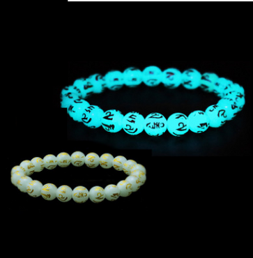 Glowing Night Pearl Beads Bracelet Hot Gold Night Pearl Fluorite Jewelry Natural Six-Word Mantra Night Gemstone Bracelet