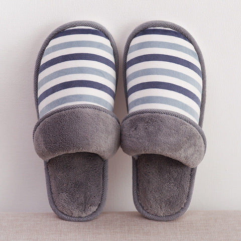 Warm and plush couple cotton slippers
