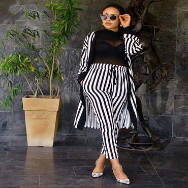 African women's two-piece set fashion striped clothes wish