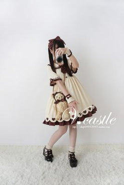 Caramel Pudding Women's Cute Beige Lolita Dress Short Sleeve Heart Buttons Summer One Piece Color Beige - Urunigi.com