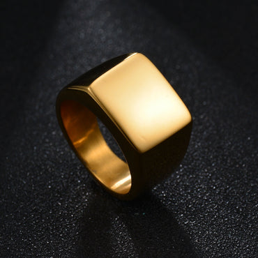 Titanium steel punk new big square can be customized custom stainless steel ring - Urunigi.com
