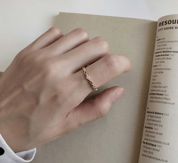 925 sterling silver gold plated  ring ring female food knuckle ring simple temperament tide Japan Korean girlfriends gift - Urunigi.com